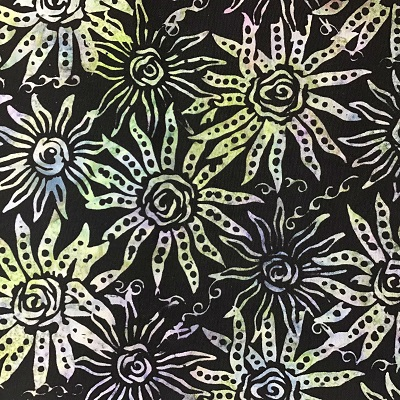 2207 Hand Dyed Batik Fabric Sunflowers Black Blue Green