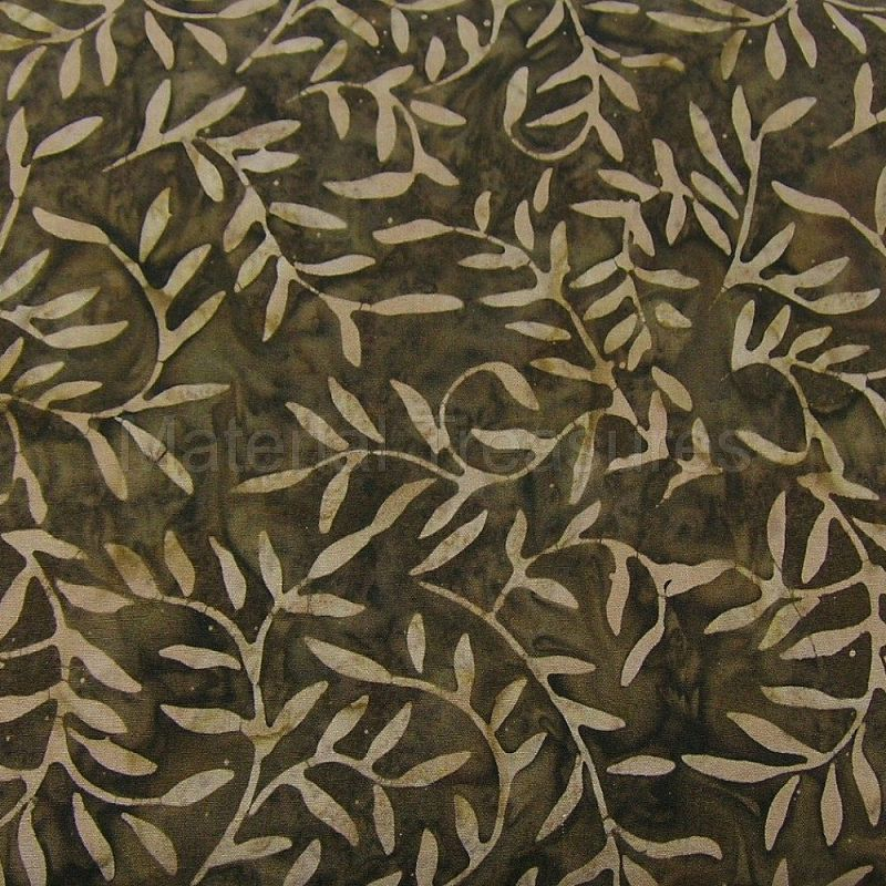 2223 Hand Dyed Batik Fabric Espresso Brown Latte Vines