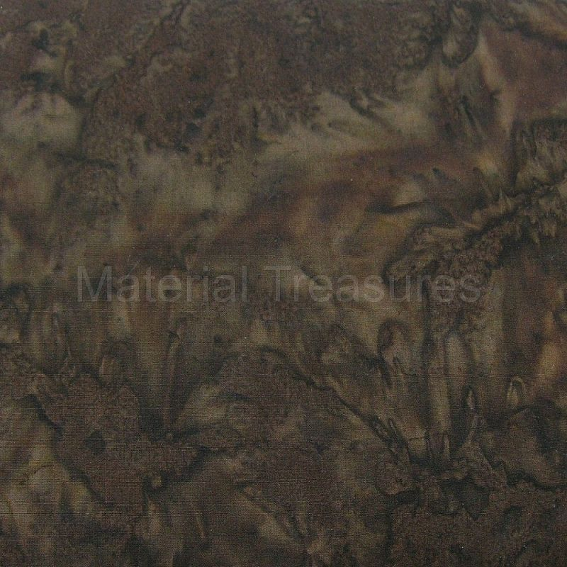2224 Hand Dyed Batik Fabric Espresso Brown Marble Blender