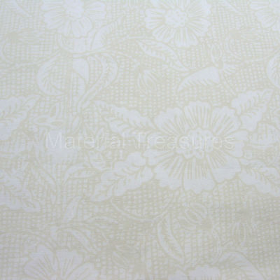 2410 Hand Dyed Batik Fabric Tan Flowers on White