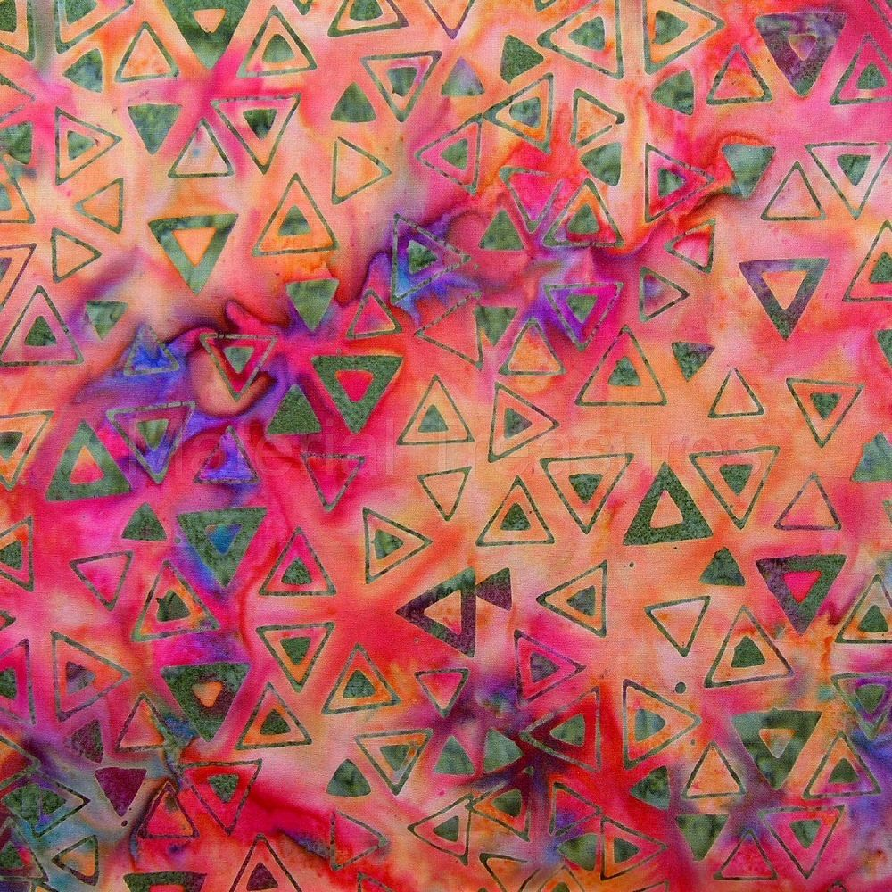 2546 Hand Dyed Batik Fabric Orange Green Triangles