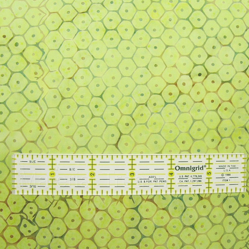 2550 Hand Dyed Batik Fabric Pistachio Green Honeycomb