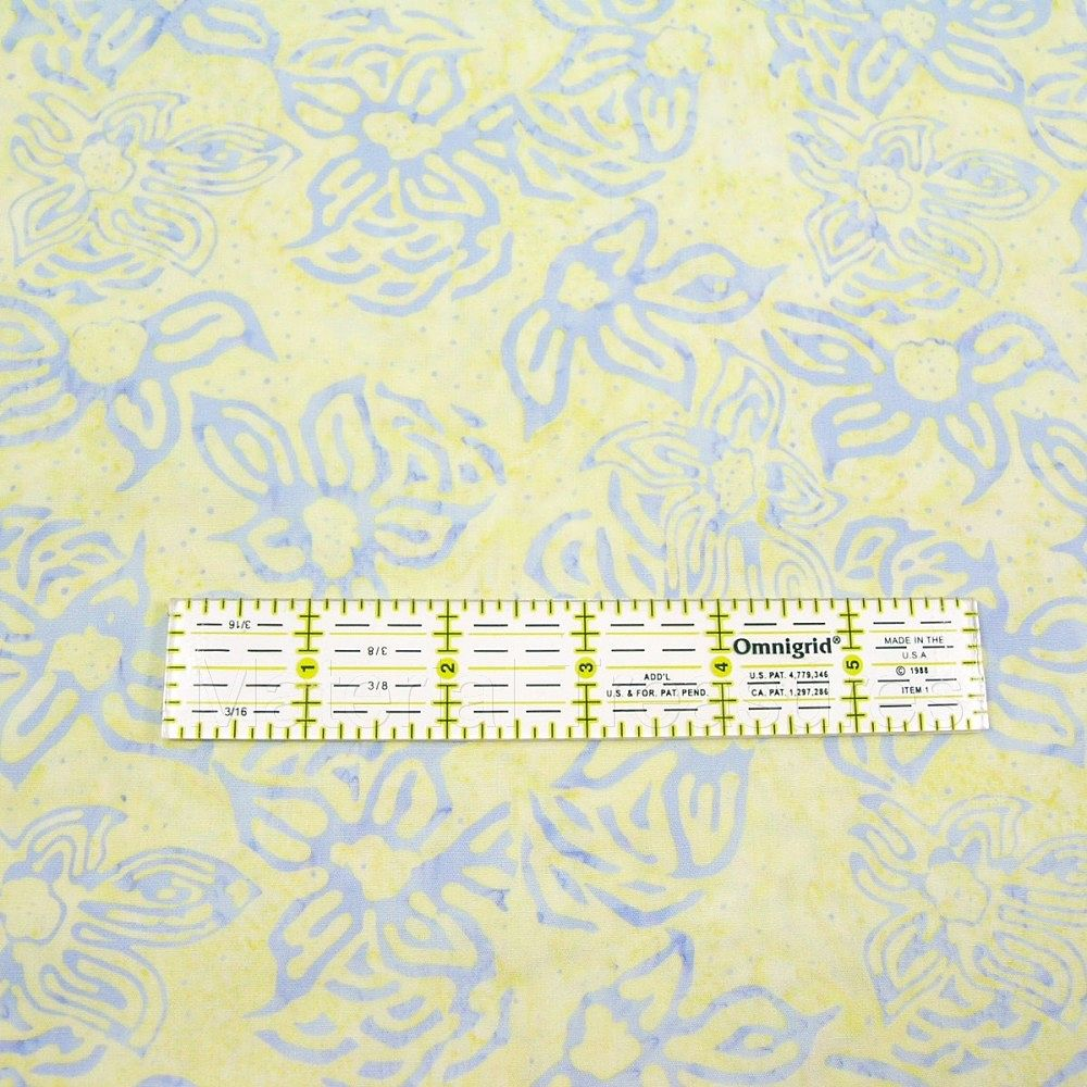 2625 Hand Dyed Batik Fabric Periwinkle Blue Flowers on Light Mustard Yellow