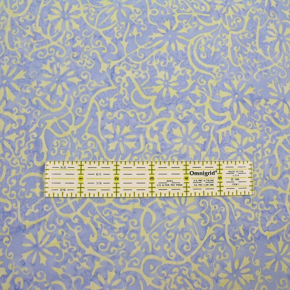 2626 Hand Dyed Batik Fabric Butter Yellow Scroll Flowers on Periwinkle Blue