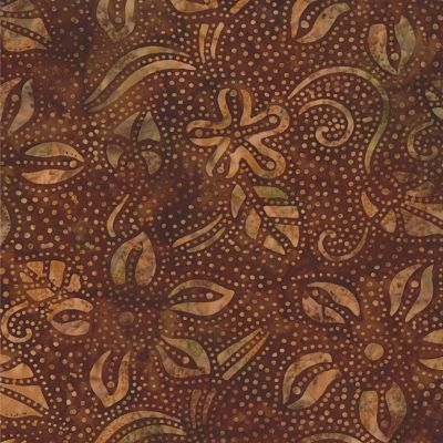 4325-33 Moda Batik Fabric Dreamcatcher Chestnut Brown Flowers