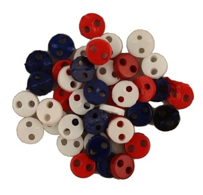 "BG1804 Patriotic Americana Tiny Micro Buttons 1/8"" - 4mm"