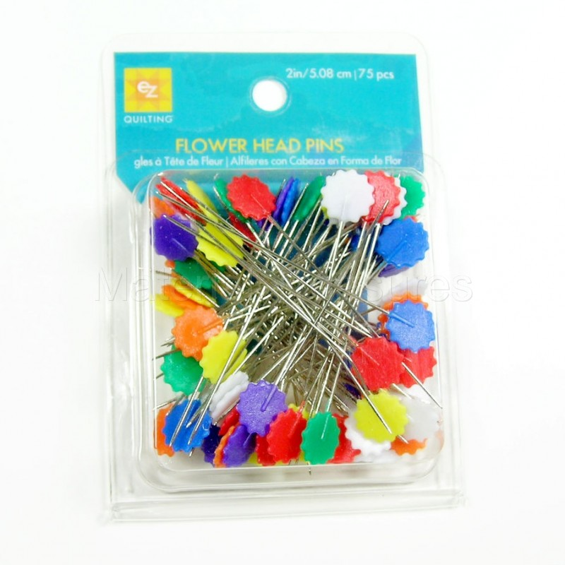 881428 Flat Flower Head 2 Inch Pins - 75-Pack Assorted Colors