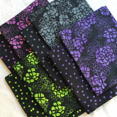 Batik Fat Quarter Fabric Bundle Hand Dyed Black Flowers Dots