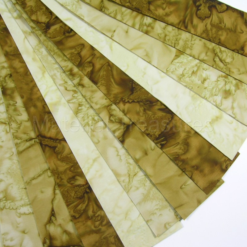 Marble Batik Jelly Roll 12 Fabric Strips 2.5 x 42-Inch Golden Brown Blenders