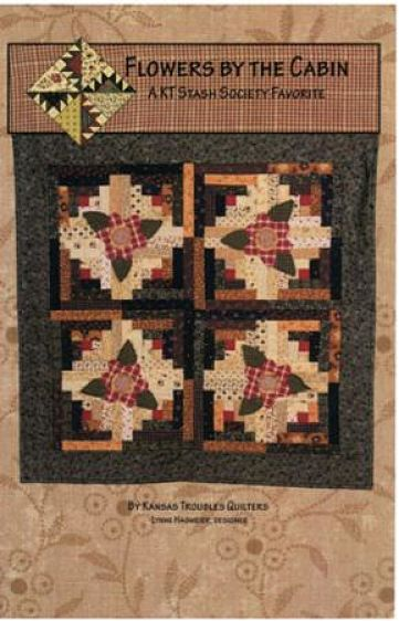 "Kansas Troubles Flowers By The Cabin Pattern Wall Quilt 34"" x 34"""