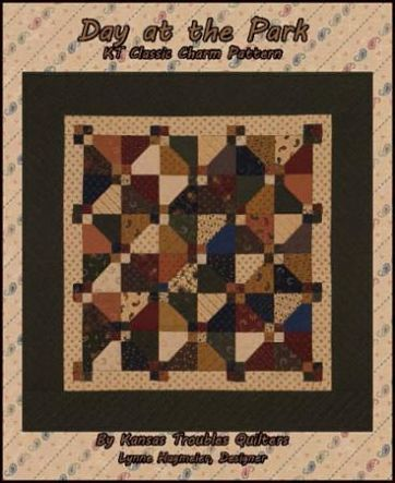 "Kansas Troubles Day At The Park Pattern Wall or Mini Quilt 36"" x 36"""