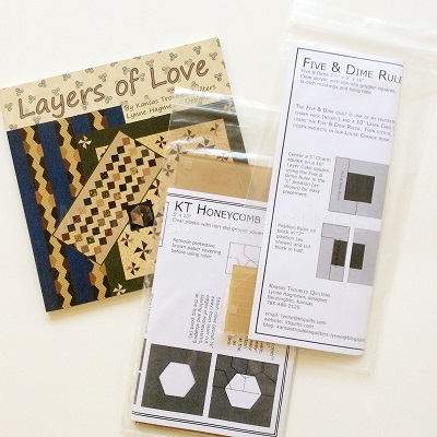 Kansas Troubles Combo Layers of Love Pattern Book plus 5 & Dime - Honeycomb Rulers