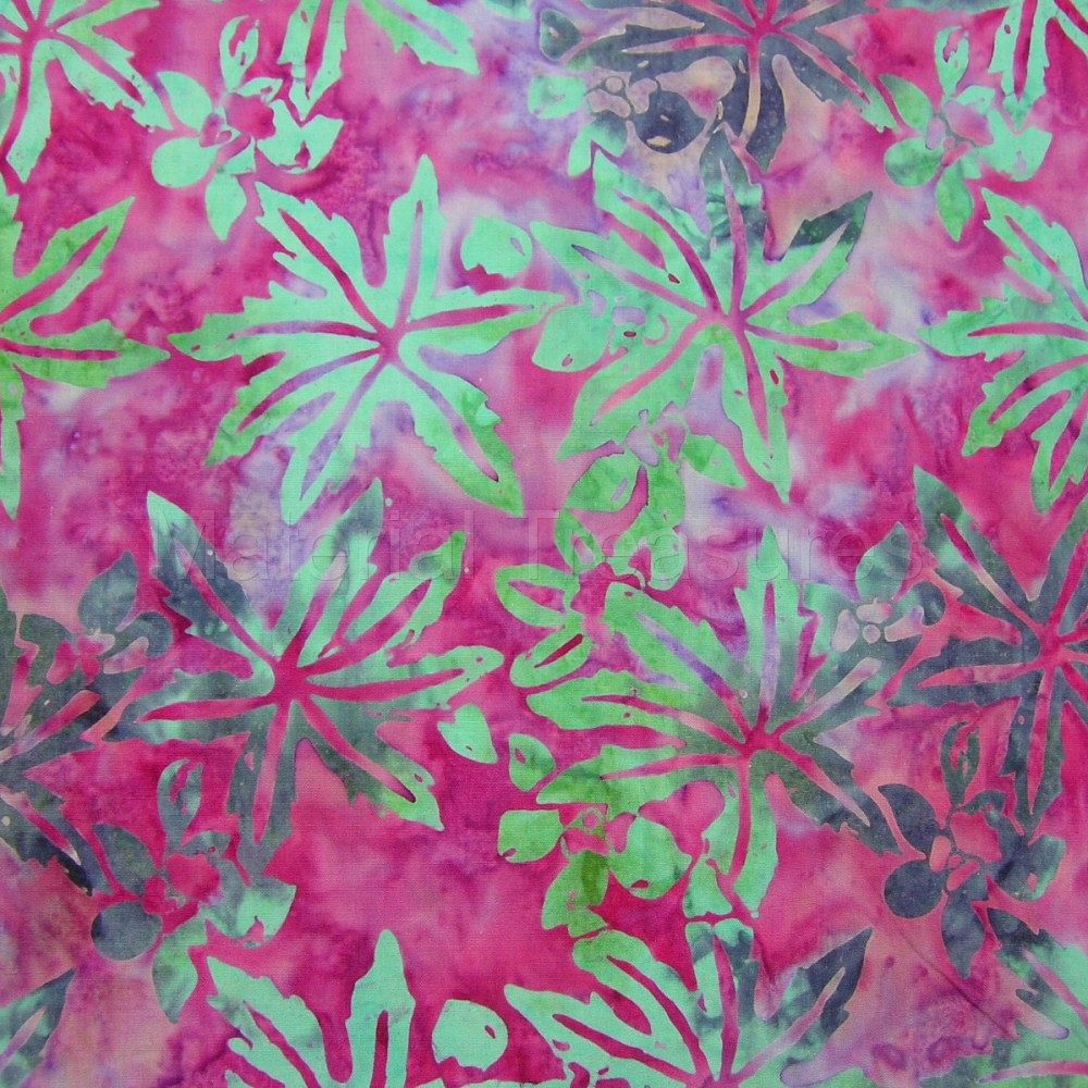 K427 Hand Dyed Batik Fabric Turquoise Purple Leaves