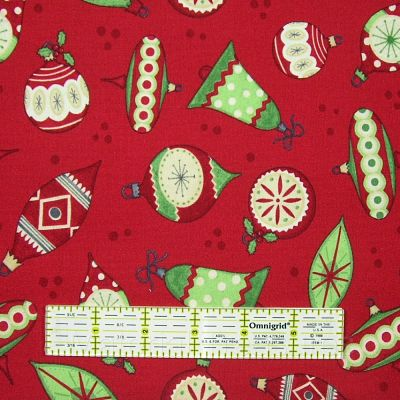 debbie mumm jolly christmas cotton fabric ornaments on red