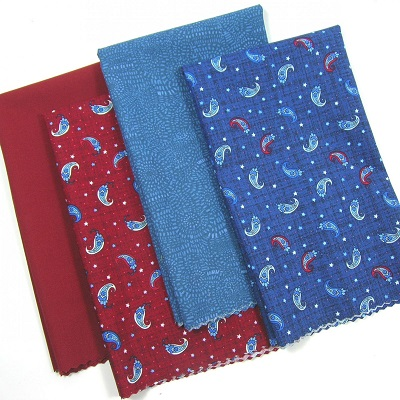 Patriotic Fat Quarter Bundle Paisley Red Blue