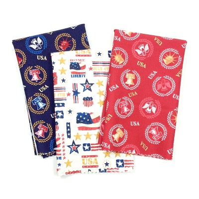 Patriotic Half Yard Fabric Bundle One Nation Red Blue Gold