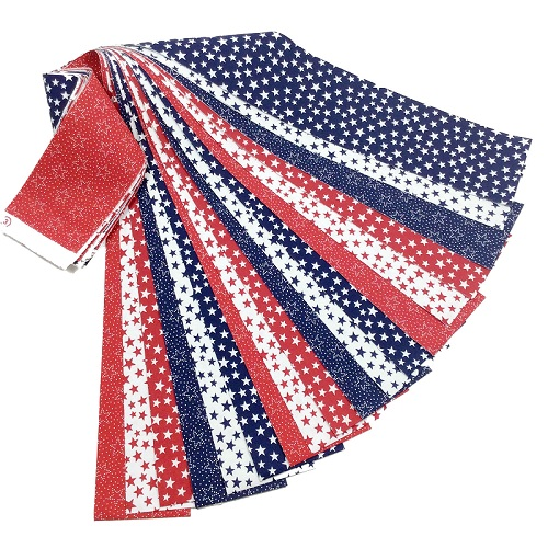 Patriotic Jelly Roll 18 Fabric Strips Red White Blue Stars