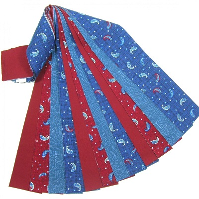 Patriotic Jelly Roll 16 Fabric Strips Paisley Red Blue