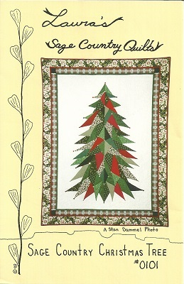 "P0101 Sage Country Christmas Tree Pattern Appliqued Wall Quilt 48"" x 63"""